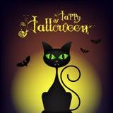 Illustrazione di Halloween con il gatto nero sul fondo della luna Fotografia Stock