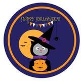 Illustrazione di Halloween con il gatto nero sveglio nel cappello della strega Fotografia Stock