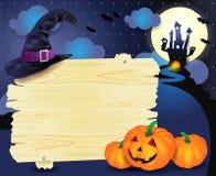 Illustrazione di Halloween con l'insegna Immagini Stock Libere da Diritti