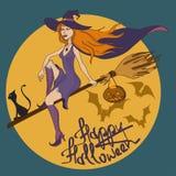 Illustrazione di Halloween con la strega Immagine Stock