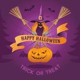 Illustrazione di Halloween con la strega Immagine Stock Libera da Diritti