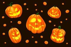Illustrazione di Halloween con un insieme isolato di grande Halloween zucca di 5 Immagini Stock