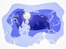 Illustrazione di Halloween di vettore con il castello e la tomba stylization stratificato 3d Immagini Stock