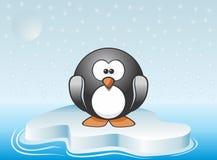 Illustrazione di immagine del pinguino sveglio che sta sull'iceberg illustrazione di stock