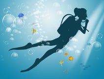 Illustrazione di immersione con bombole royalty illustrazione gratis