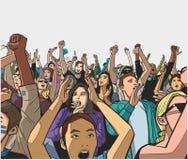 Illustrazione di incoraggiare della folla di festival royalty illustrazione gratis