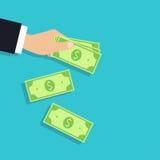 Illustrazione di indennità soldi in mano, vettore Fotografia Stock