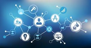Illustrazione di ingegneria: digitalizzazione, tecnologia, innovazione - concetto astratto illustrazione di stock
