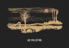 Illustrazione di inquinamento atmosferico Schizzo tirato del tema dell'ambiente di contaminazione nel vettore Disegno del paesagg illustrazione di stock