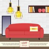 Illustrazione di interior design del sottotetto Immagini Stock Libere da Diritti