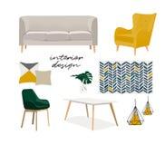 Illustrazione di interior design di vettore Mobilia d'avanguardia Fotografie Stock