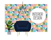 Illustrazione di interior design di vettore Mobilia del salone tendenza d'avanguardia royalty illustrazione gratis