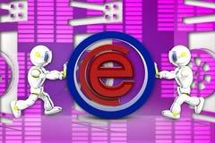 illustrazione di Internet del robot 3d Fotografie Stock Libere da Diritti