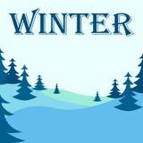 Illustrazione di inverno con gli alberi Fotografia Stock