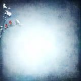 Illustrazione di inverno con gli uccelli rossi illustrazione vettoriale