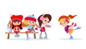 Illustrazione di inverno con il gruppo di ragazza sveglia sulla pista di pattinaggio sul ghiaccio Fotografia Stock