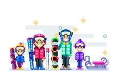Illustrazione di inverno isolata famiglia felice La gente fa lo spor dell'inverno royalty illustrazione gratis