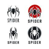 Illustrazione di ispirazione di progettazione di logo del distintivo del ragno illustrazione vettoriale
