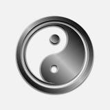 Illustrazione di Jin Jang metallico d'acciaio, fondo bianco Immagini Stock