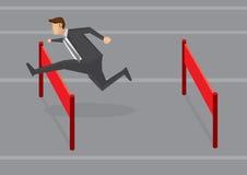 Illustrazione di Jumping Hurdles Vector dell'uomo d'affari Immagini Stock Libere da Diritti