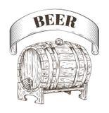 Illustrazione di legno di vettore del barilotto di stoccaggio della birra royalty illustrazione gratis