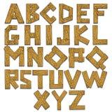 Illustrazione di legno di vettore dell'incisione di alfabeto Immagini Stock Libere da Diritti