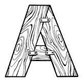 Illustrazione di legno di vettore dell'incisione della lettera A Immagini Stock