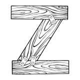 Illustrazione di legno di vettore dell'incisione della lettera Z Immagine Stock