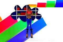 illustrazione di libro dello scaffale della nuvola delle donne 3D Immagine Stock Libera da Diritti