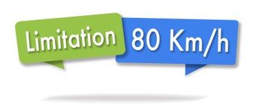 Illustrazione di limitazione di velocità in due bolle colorate illustrazione di stock