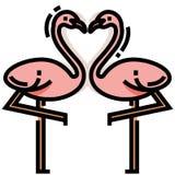 Illustrazione di LineColor del cuore del fenicottero royalty illustrazione gratis