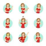 Illustrazione di linguaggio del corpo di emozione messa con la dimostrazione della donna Immagini Stock Libere da Diritti