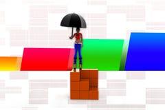 illustrazione di logistica delle donne 3d Immagine Stock Libera da Diritti