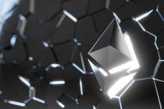 Illustrazione di logo 3D della moneta di Ethereum Immagini Stock
