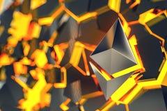 Illustrazione di logo 3D della moneta di Ethereum Fotografia Stock