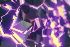Illustrazione di logo 3D della moneta di Ethereum Fotografie Stock
