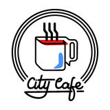 Illustrazione di Logo Template Design Vector del caffè della città Fotografia Stock