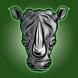 Illustrazione di Logo Vector Front View Vector di rinoceronte illustrazione vettoriale