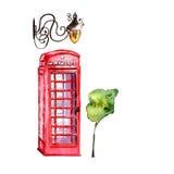 Illustrazione di Londra dell'acquerello Simboli disegnati a mano della Gran Bretagna Immagini Stock