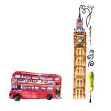 Illustrazione di Londra dell'acquerello Simboli disegnati a mano della Gran Bretagna Immagine Stock