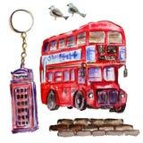 Illustrazione di Londra dell'acquerello Simboli disegnati a mano della Gran Bretagna Fotografia Stock Libera da Diritti