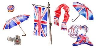 Illustrazione di Londra dell'acquerello Simboli disegnati a mano della Gran Bretagna Immagini Stock Libere da Diritti