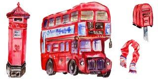 Illustrazione di Londra dell'acquerello Simboli disegnati a mano della Gran Bretagna Fotografie Stock Libere da Diritti