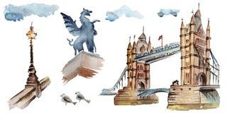 Illustrazione di Londra dell'acquerello Simboli disegnati a mano della Gran Bretagna Fotografia Stock
