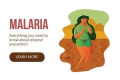 Illustrazione di malaria La donna sta soffrendo nel deserto fotografie stock