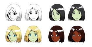 Illustrazione di Manga Bob Hair Girl Stroke Vector Fotografie Stock Libere da Diritti