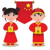 Illustrazione di maschio e di un cinese femminile su fondo bianco Immagine Stock Libera da Diritti