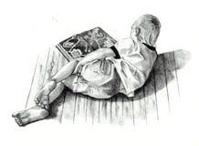 Illustrazione di matita del libro di lettura del ragazzo Fotografia Stock