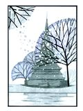 illustrazione di matita del tempiale della Tailandia del pagoda Immagini Stock Libere da Diritti