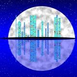 Illustrazione di mezzanotte di paesaggio urbano del fullmoon blu con le costruzioni sull'isola Immagine Stock Libera da Diritti